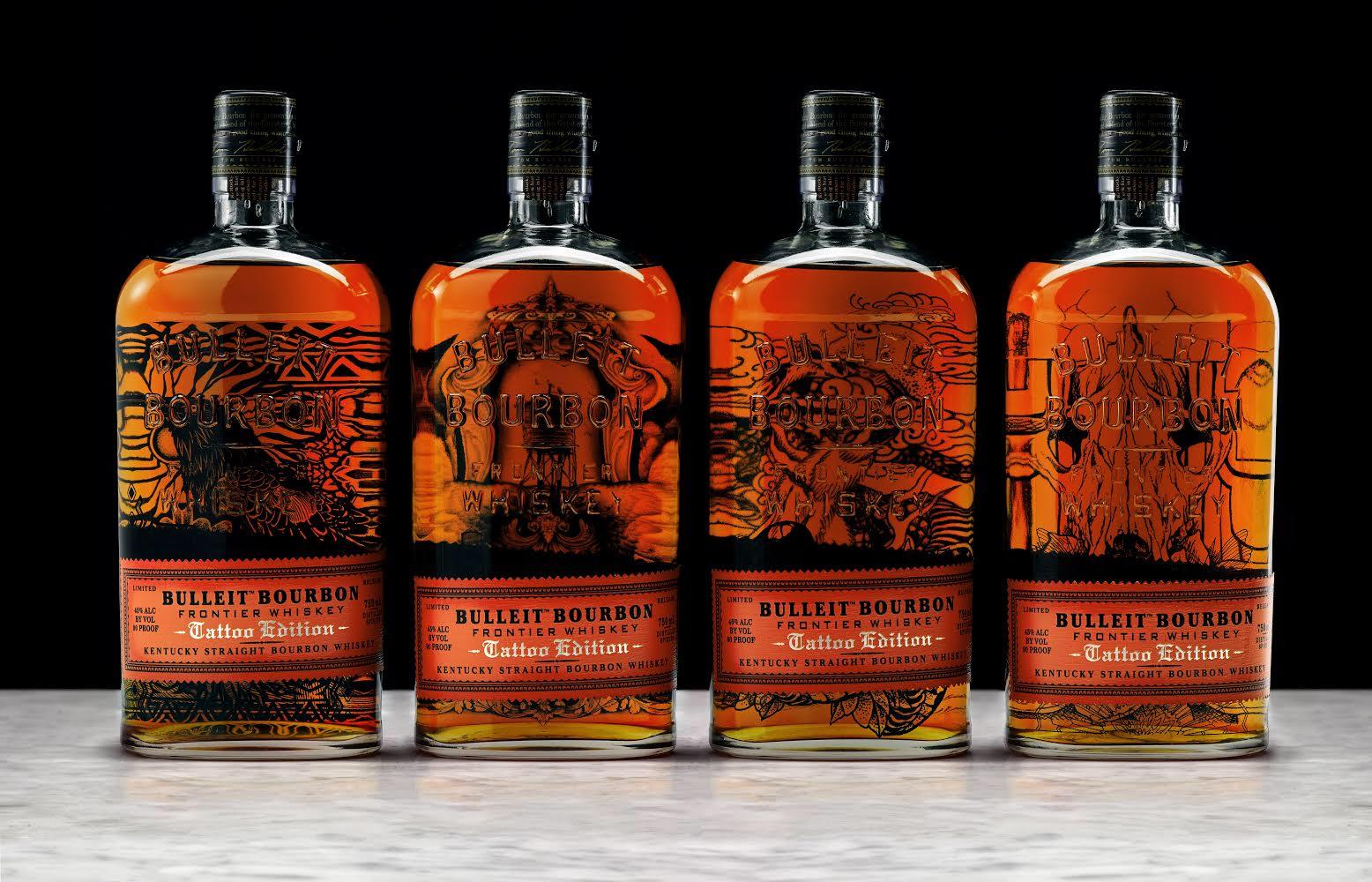 Bulleit Bourbon Tattoo Edition Bottles.