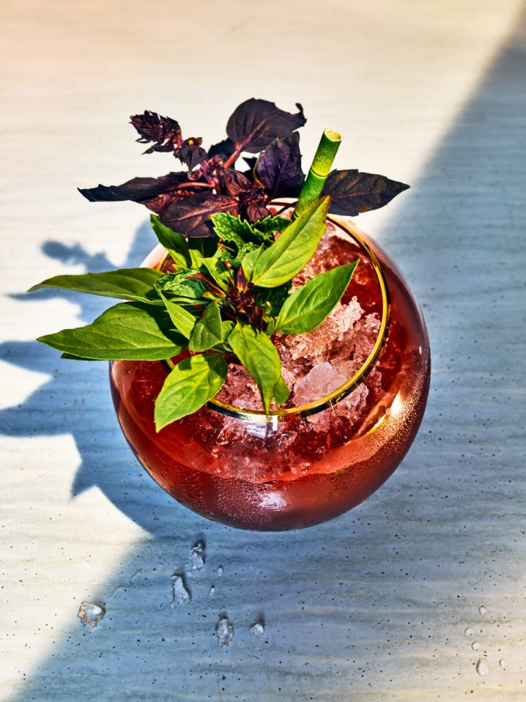 Bourbon, Watermlon, Mint Jalab from Accomplice Bar in Los Angeles. Photo credit: Grant Cornett (from Clean + Dirty Drinking) .