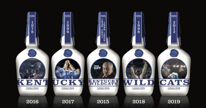 The full series of Kentucky Wildcat bottles. Courtesy Maker's Mark.