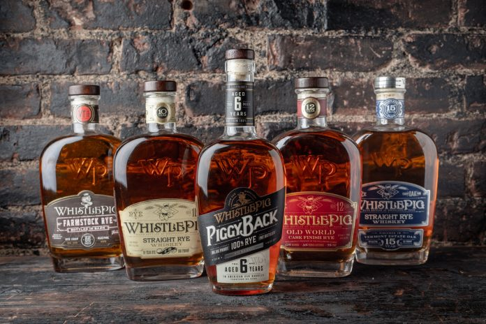 WhistlePig Rye Lineup, with new PiggyBack center. Photo Courtesy WhistlePig.