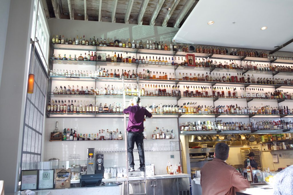 The wall of whiskies at Hard Water in San Francisco. Courtesy Hard Water.