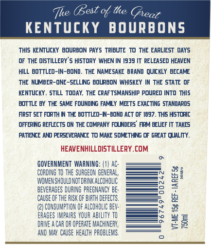 The Back Label of Heaven Hill 7-Year-Old Bottled-in-Bond. Photo Courtesy Heaven Hill.