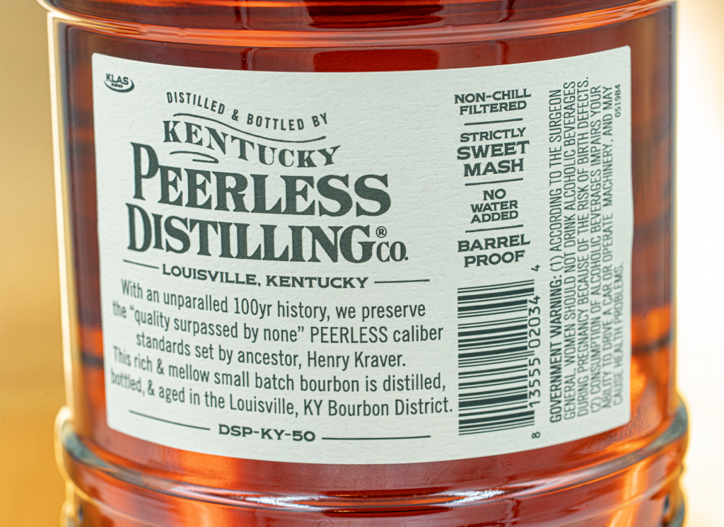 The label on the Peerless Bourbon bottle spells out each step the distillery takes to maintain their quality. Photo Courtesy Kentucky Peerless Distilling Co.