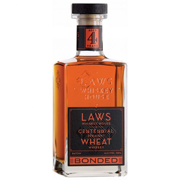 Laws Whiskey House Bonded Centennial Straight Wheat Whiskey. Photo Courtesy Laws Whiskey House.