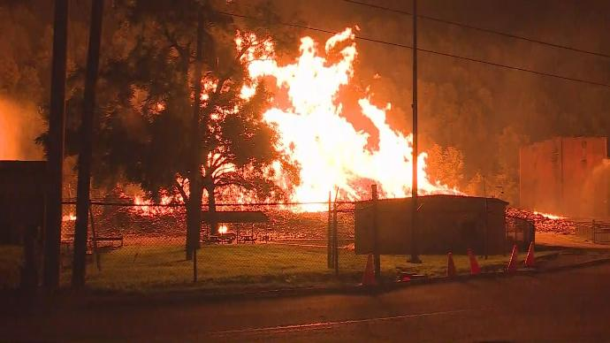 Jim Beam Warehouse Fire. Photo Credit WKYT..